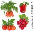 Collection set of fresh  vegetable isolated on white background - stock photo