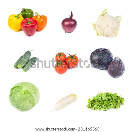 Collection set of fresh vegetables salad ingredients including sweet pepper, onion, tomatoes, cabbage, cauliflower, cucumbers, daikon root, lettuce isolated on white background - stock photo