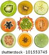 collection set of halves fruits kiwi, apple, papaya, kiwano, cantaloupe melon, guava, orange, lime  close up isolated on white background - stock photo