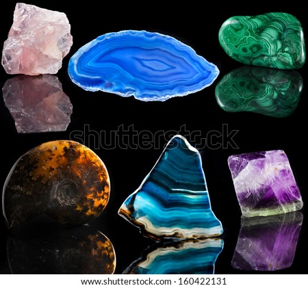 Collection set of  mineral stone close up with reflection on black surface background  - stock photo