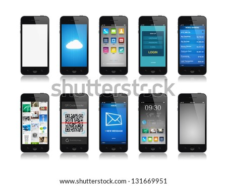 Collection set of mobile phone interface designs showing different functions and apps. Isolated on white. - stock photo