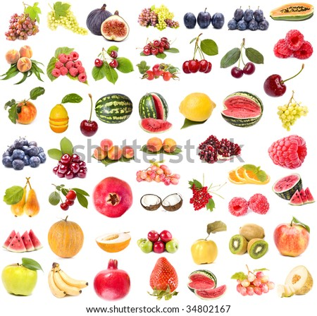 Collection set of  of fruits and vegetables isolated on white background - stock photo