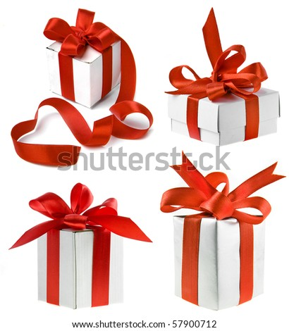 collection set of present box with red ribbon  isolated on white background - stock photo