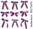 Collection set of ribbon tape bows Russian flag isolated on white background  - stock photo