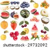 collection set of ripe berry and fruits isolated on white background - stock photo