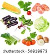 Collection set of ripe vegetables isolated on white background - stock photo
