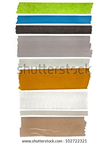 collection set of Strips colorful insulating adhesive tape, close up,  isolated on white background - stock photo