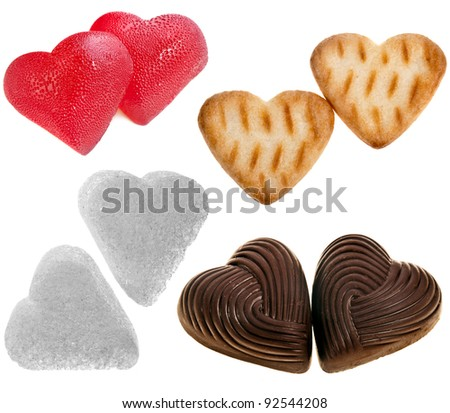 collection set of sweety food  of shape  heart : sugar, chocolate candy , cookie , isolated on white background - stock photo