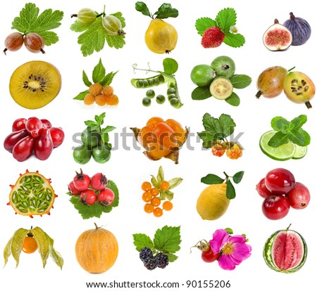 collection set of tasty fruits and berries isolated on white background - stock photo