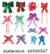 collection set of various type and design of ribbon bow over white background - stock photo