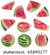 Collection set of watermelon piece , isolated on white background - stock photo