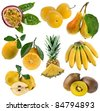 Collection set of yellow sweet fruits close up  isolated on white background - stock photo
