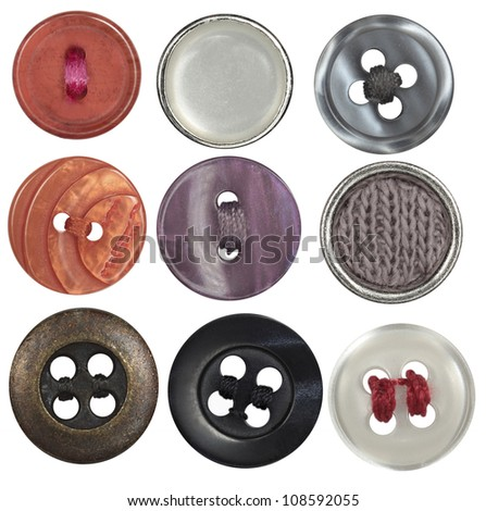 collection sewing button on white background - stock photo