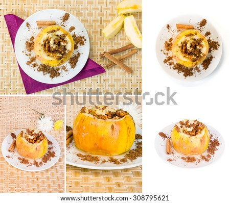 Collection shoots baked yellow apple on a plate with sprinkled coffee - stock photo