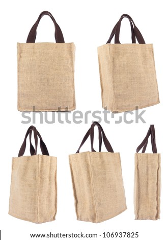 Collection Shopping bag made out of recycled Hessian sack with forming over white background - stock photo