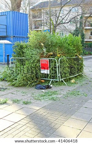 Collection site for composting old Christmas tree - stock photo