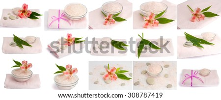 Collection. Spa accessories on the white isolated background - stock photo