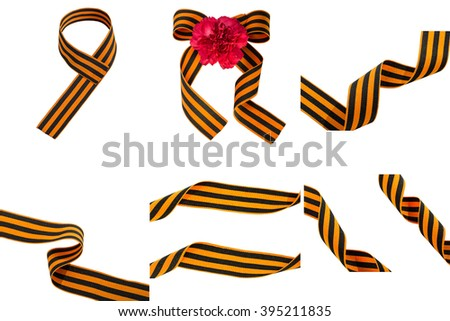 Collection St. George ribbons  on white background