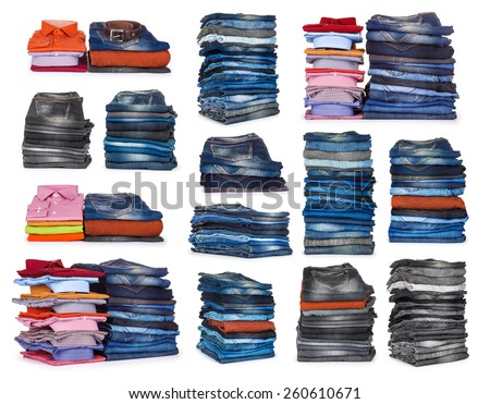 collection stacks of jeans on a white background - stock photo