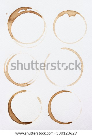 Collection stains of coffee on white background.