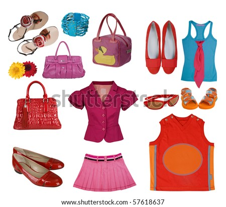 collection summer clothes - stock photo