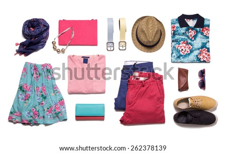 Collection summer clothes on a white background - stock photo