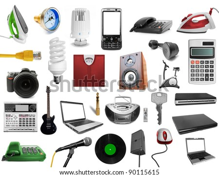 collection technology on the white backgrounds - stock photo
