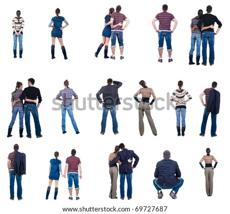 "Collection ""The back of watching people"". Rear view. Isolated over white. - stock photo"