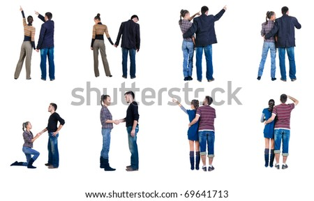 "Collection ""The back of young couple looks where that"". Rear view. Isolated over white. - stock photo"