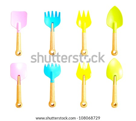 Collection toy spade, plastic shovel isolated on white background - stock photo