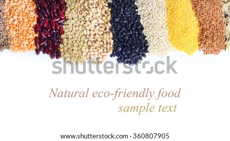 Collection various legumes beans - stock photo