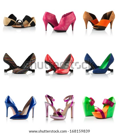 Collection - various types of female shoes over white - stock photo