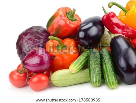collection vegetables isolated on white background                                     - stock photo