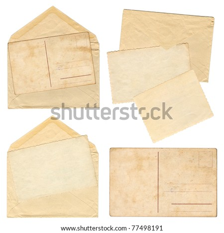 Collection vintage envelopes with old postcards - stock photo