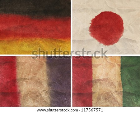 collection vintage flag watercolor natural canvas - stock photo