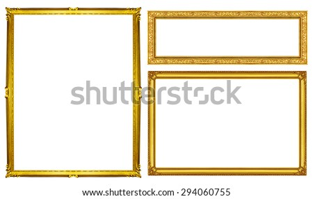 collection vintage golden frame isolated on white background, clipping path. - stock photo