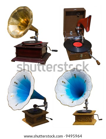 collection vintage gramophones - stock photo
