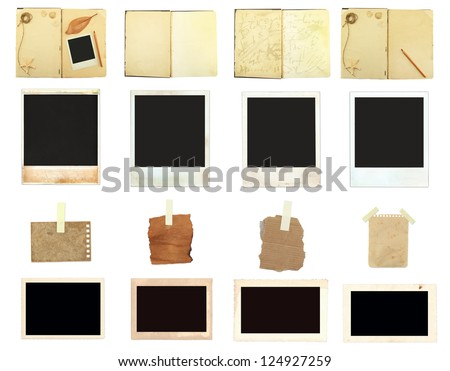 Collection Vintage photos paper old book retro style - stock photo