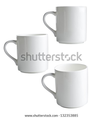 collection white coffee cups on white background.