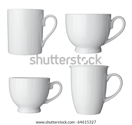 collection white coffee cups on white background. each one is shot separately