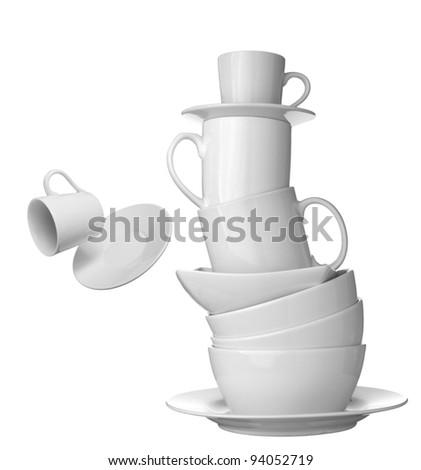 collection white coffee cups, plates and dishes on white background. each one is shot separately - stock photo