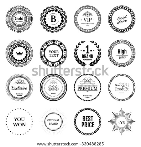 Collection white labels for promo seals on green blue background. Vintage sticker with text. Can be use for design certificate. Quality stickers round. Raster retro objects - stock photo