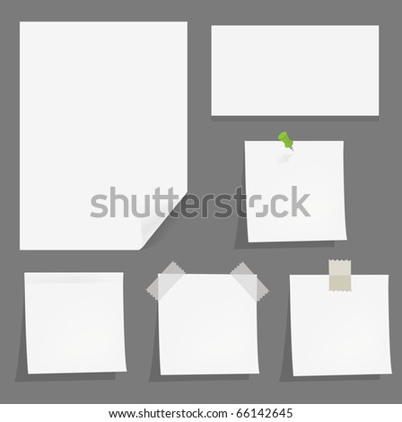 Collection White Papers With Adhesive Tapes And Pushpin, Isolated On Grey Background