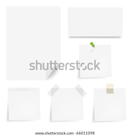 Collection White Papers With Adhesive Tapes And Pushpin, Isolated On White Background
