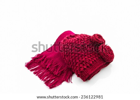 Collection Winter with accessories, Colorful woolen scarf and hat.  - stock photo
