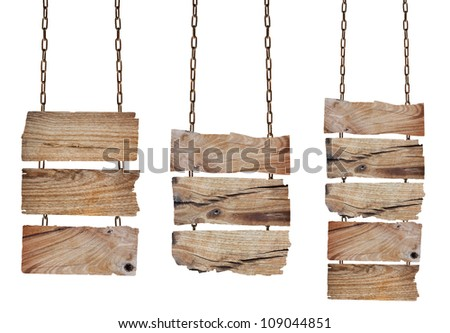 Collection wooden sign with chain on white background,  with Clipping Paths for design work - stock photo