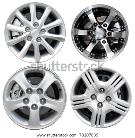 collections car rims isolated over white background