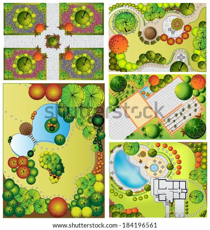 Collections od  Landscape Plan with treetop symbols - stock photo