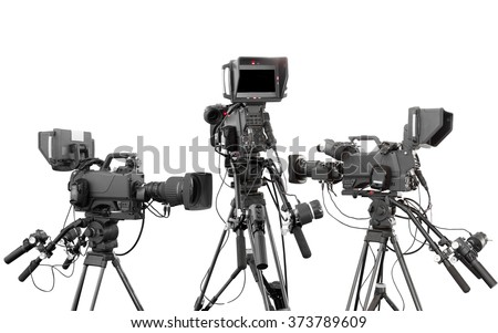 Collections of Digital video camcorder for use Television Professional studio isolated on white background with clipping path - stock photo