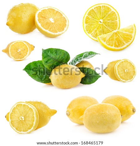 Collections of Fresh lemon, Isolated on white background - stock photo